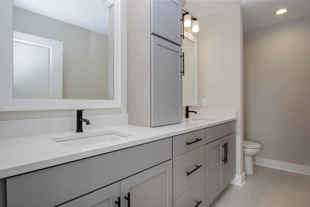 Master Bathroom with Painted Cabinetry Dual Vanity